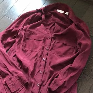 Maroon button down blouse